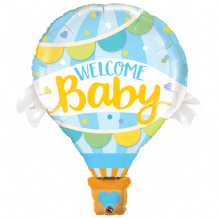 Welcome Baby Blue Hot-Air Balloon Large Balloon 1pc